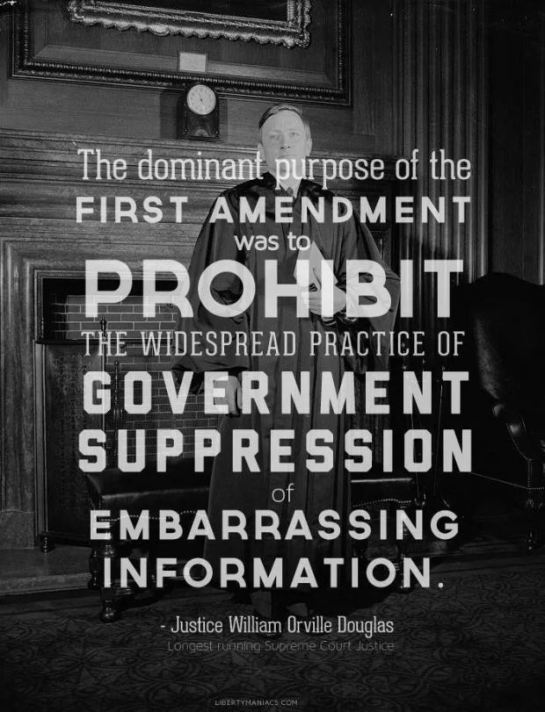 First Amendment prohibit gov suppression of embarrassing info